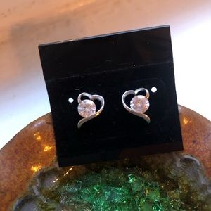 Jewelry - Silver Heart Shaped Earrings, Valentines Gift